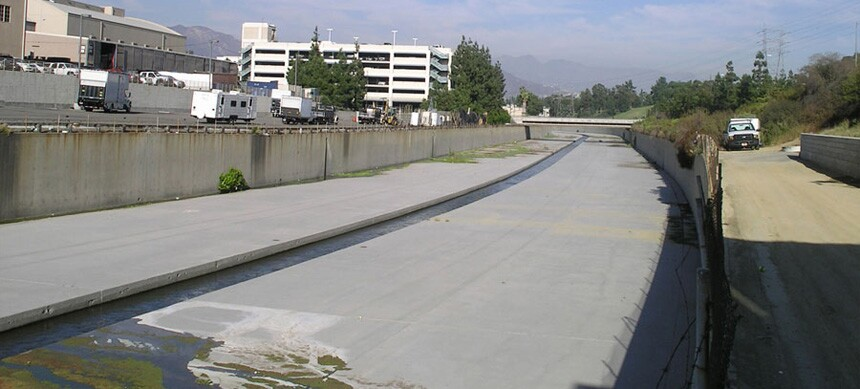 LA River, cantilevered greenway trail - Before
