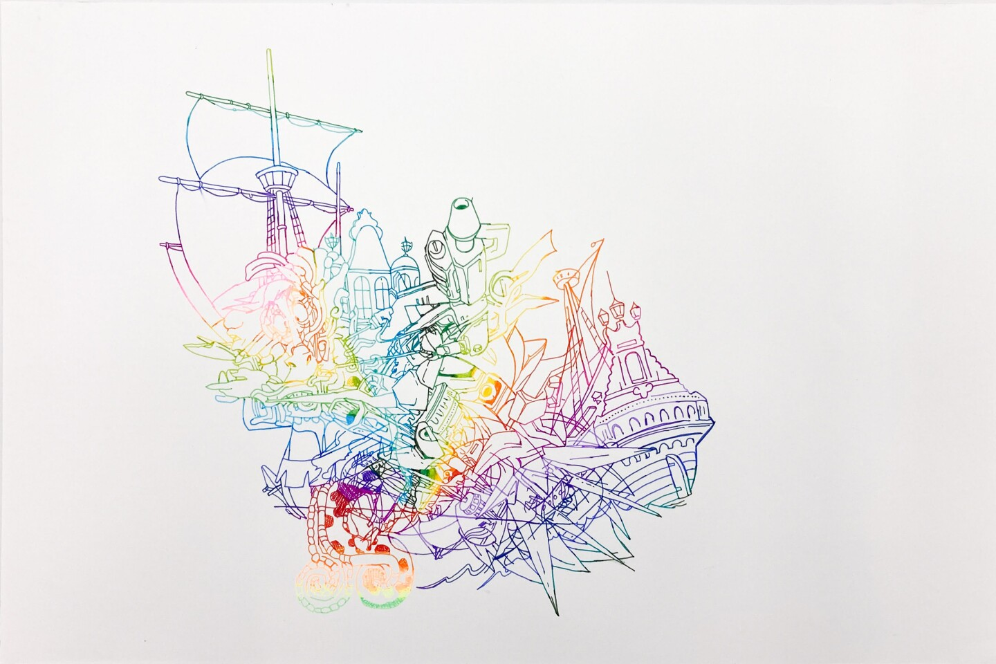 """David Rios Ferreira's """"Untitled"""" depicts a colorful ship looking like it's flying."""