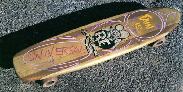 "Pain Is Universal (Rat Fink) skateboard by Ed ""Big Daddy"" Roth, c. 1960s. 