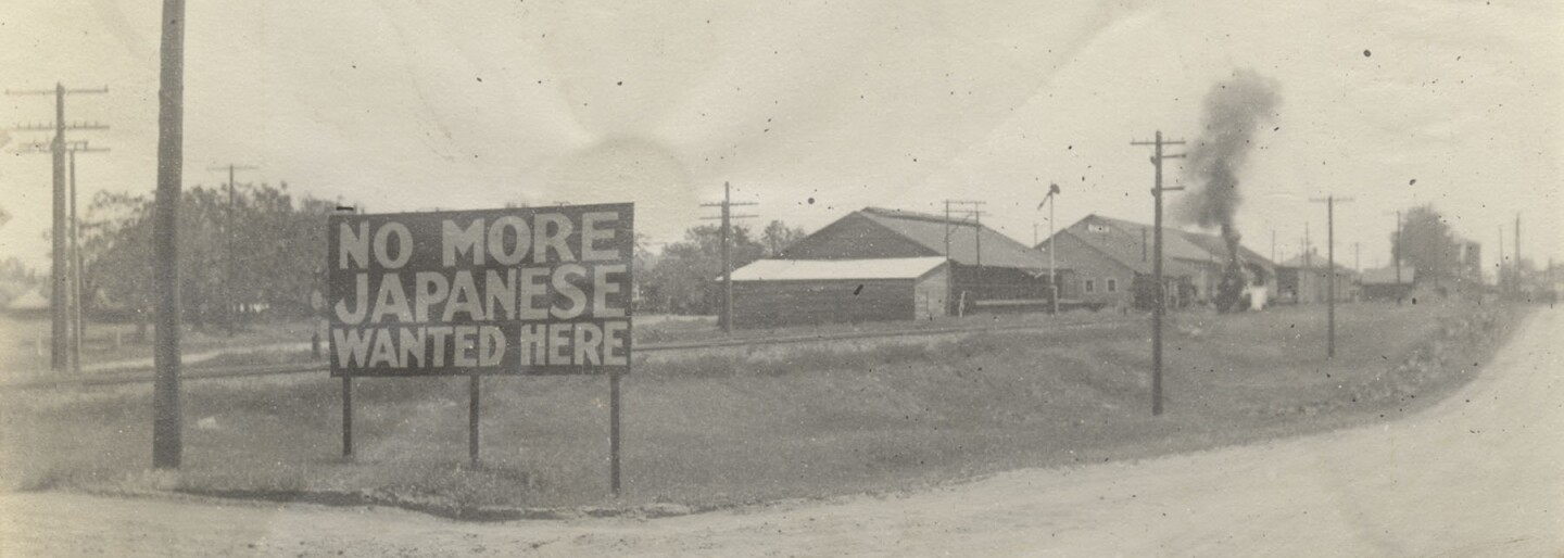 janm-banner no more japanese wanted here sign in livingston california1920.jpg