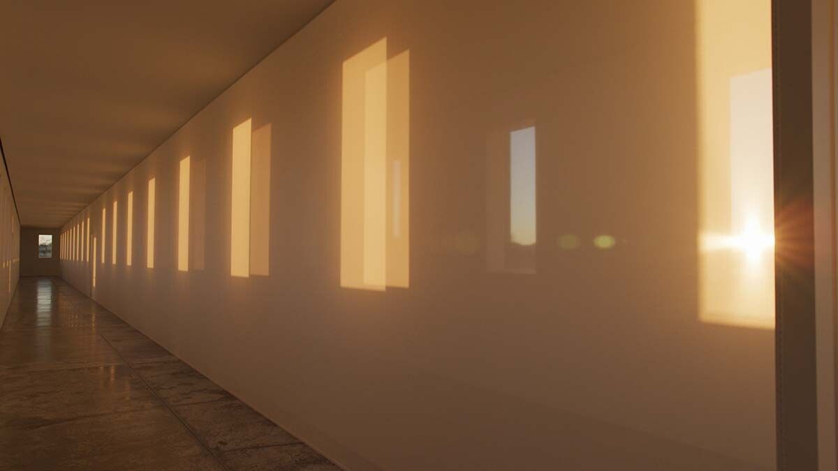 "A large-scale Light and Space artwork from Robert Irwin called ""untitled (dawn to dusk)"" as the sun sets. 