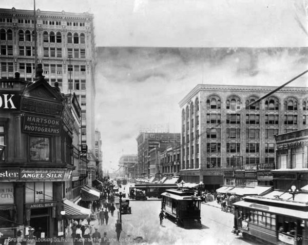 The entrance to Mercantile Place appears on the left of this circa 1910 photo, which looks south down Broadway toward Sixth Street. Courtesy of the California State Library.