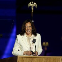 Vice President-elect Kamala Harris speaks on stage at the Chase Center before President-elect Joe Biden's address to the nation November 07, 2020 in Wilmington, Delaware. | Tasos Katopodis/Getty Images