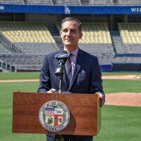 Mayor Garcetti at Dodger Stadium Testing Center   Courtesy of Diana León, Office of Los Angeles Mayor Eric Garcetti