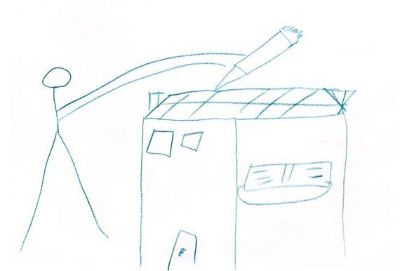 Sketch by a child in Israel for Brian McCarty's WAR-TOYS project.