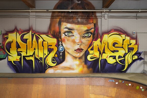 EVOL and KRUSH collaborative piece at Hurley Skate Park