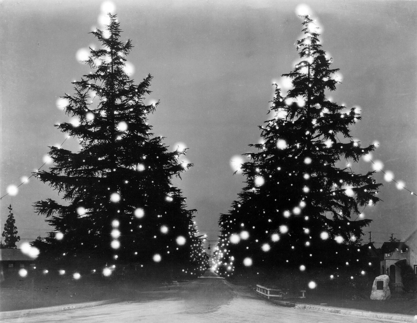 Christmas Tree Lane in 1931. Courtesy of the USC Libraries - Dick Whittington Photography Collection.