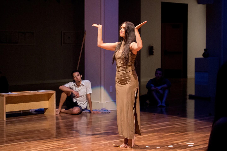 Rulan Tangen performing at UCR ARTSblock's 2015 Indigenous Choreographers of Riverside event