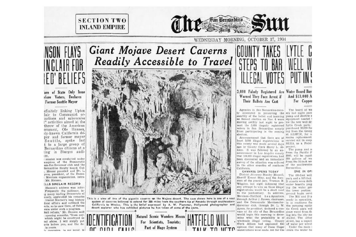 A.W. Plummer's photograph of the Mitchell Caverns appears in an October 17, 1934 article in the San Bernardino Sun proposing that the cavern is part of a vast subterranean system interconnecting the American Southwest. | Image courtesy Anna Garcia.