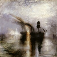 """Joseph Mallord William Turner (British, 1775 - 1851), """"Peace -- Burial at Sea,"""" exhibited 1842. Oil on canvas, 34 1/4 x 34 1/8 in. Courtesy of Tate: Accepted by the nation as part of the Turner Bequest 1856. Photo © Tate, London 2014."""