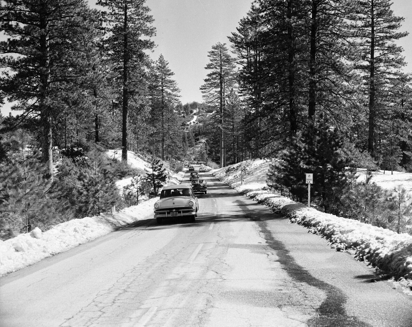 Angeles Crest Highway in the high country, 1956