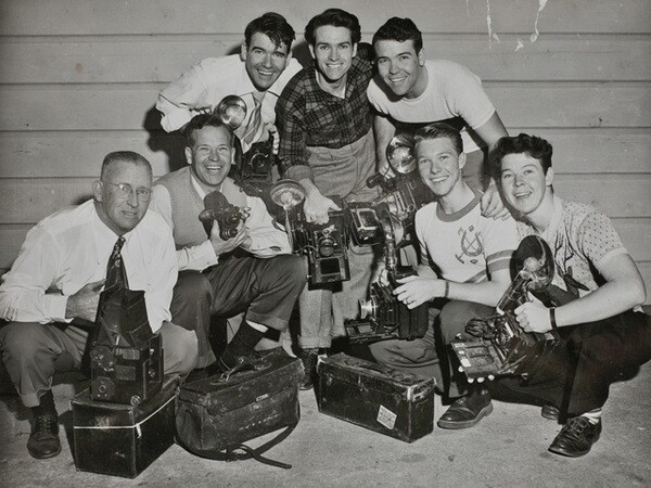 George Watson (far left) and the six Watson brothers with their cameras. Courtesy of the Watson Family Photographic Archive.