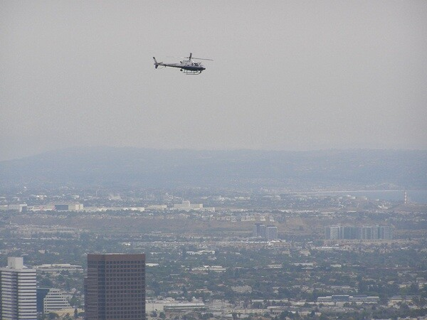 A helicopter over Los Angeles, as seen from The Getty