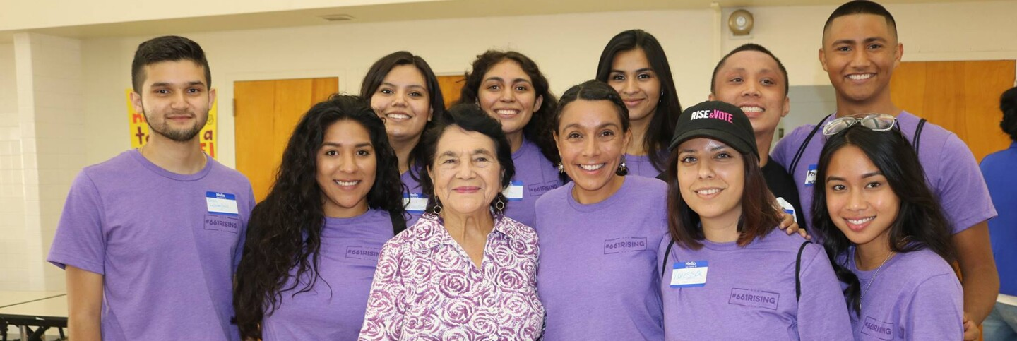Dolores Huerta, Veronica Terriquez and Central Valley youth leaders in Delano in 2018 | Courtesy of Veronica Terriquez