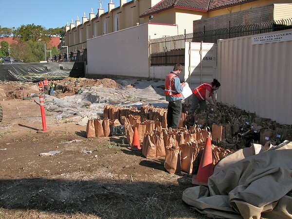 Soil that surrounded remains, in bags for reburial at El Pueblo de Los Angeles Campo Santo April 2012 | Courtesy of The City Project