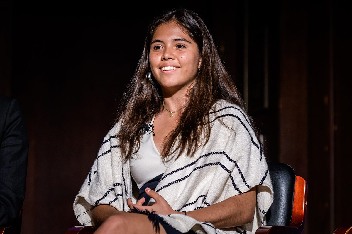 Xiye Bastida attends a CHOOSE US - Youth Climate Strike Demands Solutions And Action Now conversation with youth climate leaders at The New York Society for Ethical Culture. | Erik McGregor/LightRocket via Getty Images