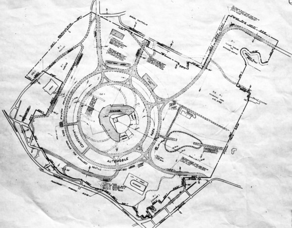 The 1959 plot plan for Dodger Stadium. Courtesy of the USC Libraries - Los Angeles Examiner Collection.