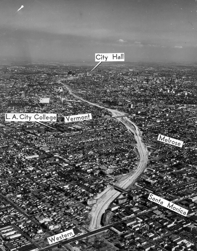 Aerial view of Hollywood Freeway