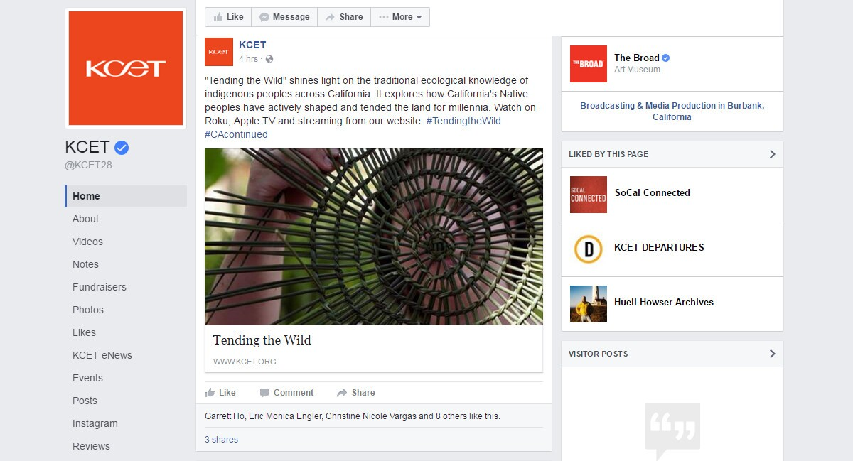"A KCET Facebook post promotes ""Tending the Wild,"" a series produced in partnership with the Autry"
