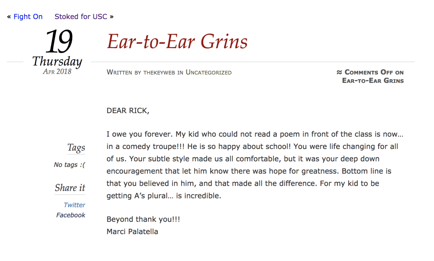 """Ear-to-Ear Grin"". Marci Palatella's testimonial on The Key Worldwide's website. Palatella was indicted in the college admissions scandal on March 12th, 2019."