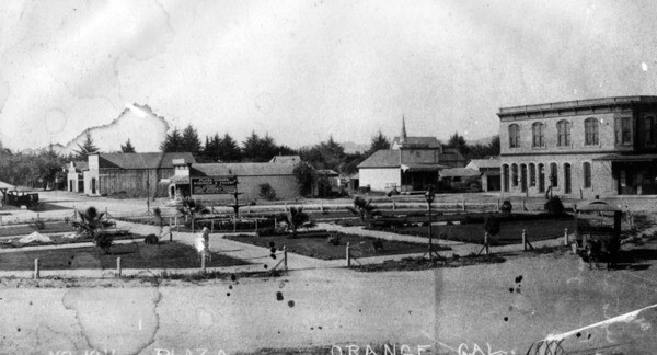The Orange Plaza in 1888. Courtesy of the Photo Collection - Los Angeles Public Library.