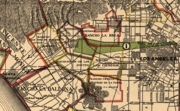 Though it's hard to discern, the Santa Monica Cycle Path appears on this map as a bold black line between Santa Monica and Los Angeles. 1900 map of Los Angeles County by A.L. George. Courtesy of the Library of Congress.
