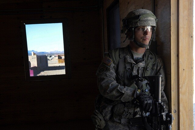 A U.S. Army soldier with the 211th Armored Cavalry Regiment participates in an exercise at the National Training Center in Fort Irwin, Calif.