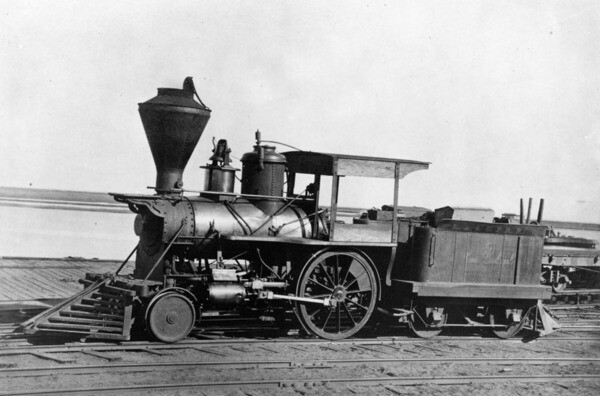 Los Angeles' first locomotive, the tiny San Gabriel, worked the Los Angeles & San Pedro until larger engines replaced it. Courtesy of the Photo Collection - Los Angeles Public Library.