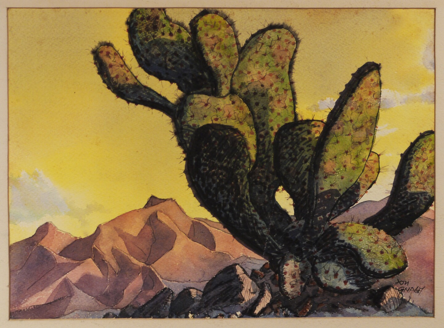 A painting by Jon Gnagy depicting a beavertail cactus. Behind it is a desert landscape painted in hues of pinks and yellows.