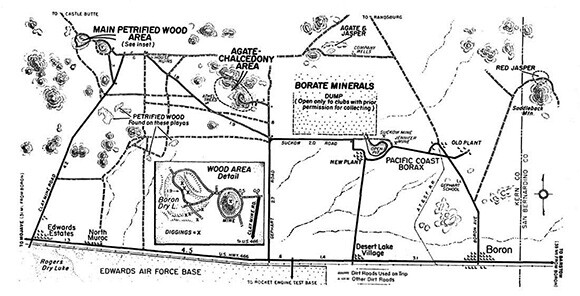 Boron area rockhounding map featured in March 1958 Desert Magazine article.