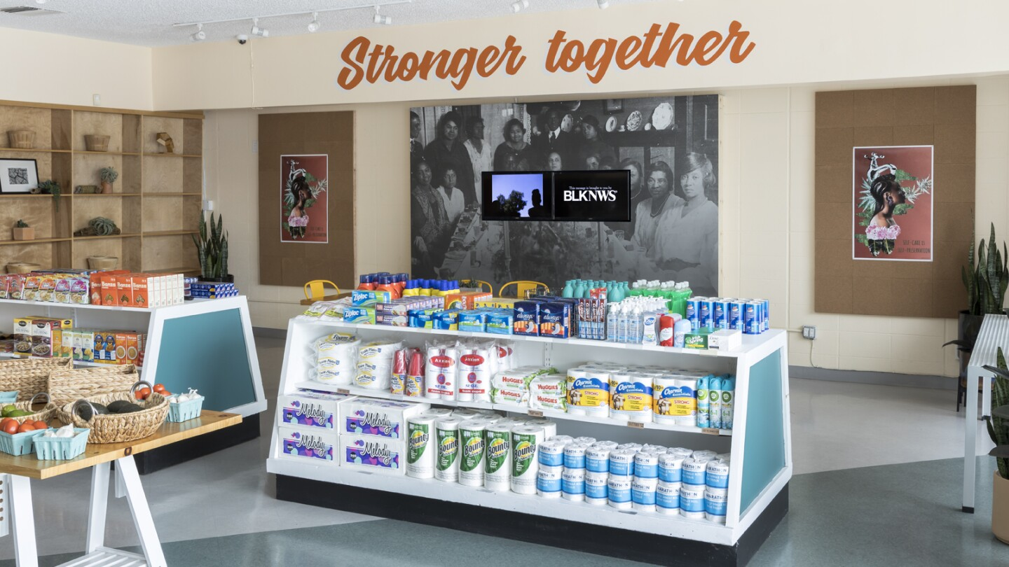 """Kahlil Joseph, BLKNWS®, 2018-ongoing. Two-channel fugitive newscast. Courtesy of the artist. Installation view, """"Made in L.A. 2020: a version,"""" Hank's Mini Market, Los Angeles. 