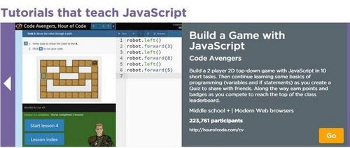 Code Avengers has a free Hour of Code Lesson on code.org