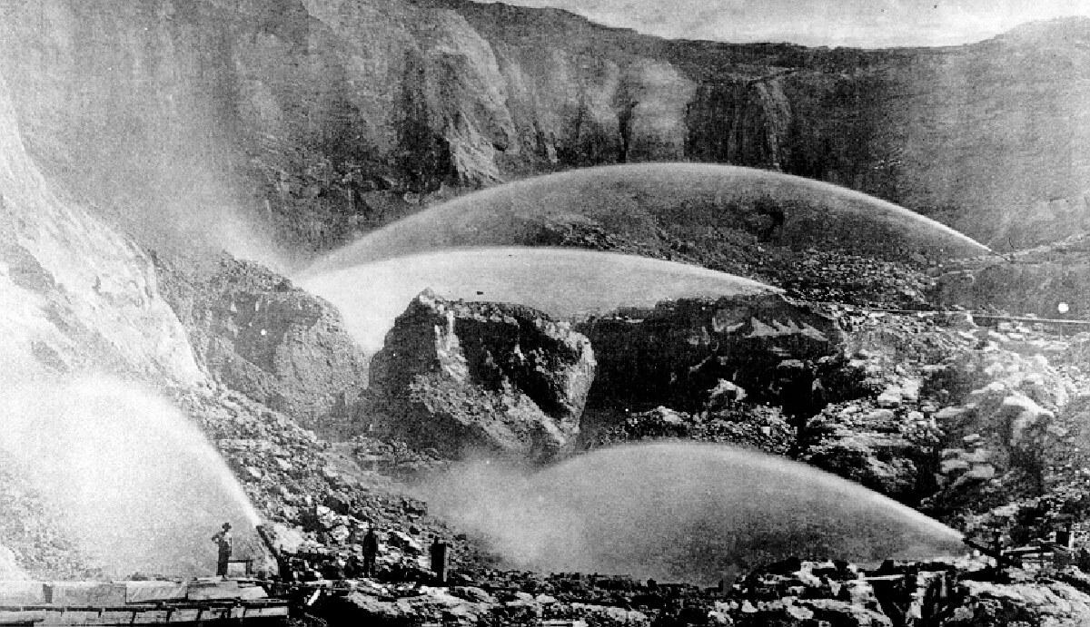 The pit at Malakoff Diggins during heyday of hydraulic mining. | Wikimedia Commons/Watkins Photo-Bancroft Neg. #8111/Creative Commons/Public Domain