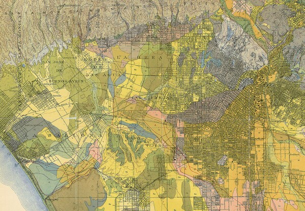 Detail of a 1916 soil survey of the Los Angeles area by the U.S. Department of Agriculture, Bureau of Soil. Courtesy of the Map Collection, Los Angeles Public Library.