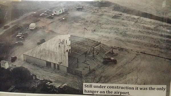Building the first hangar at the former El Monte Airport. | Photo by Apolonio Morales.