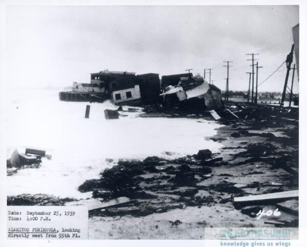 The aftermath of the 1939 tropical storm on Alamitos Bay.