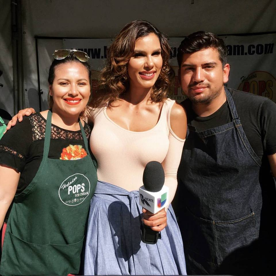 Ade Ken and Marthin Ken with Univision's Tati Polo   Courtesy of Helados Pops