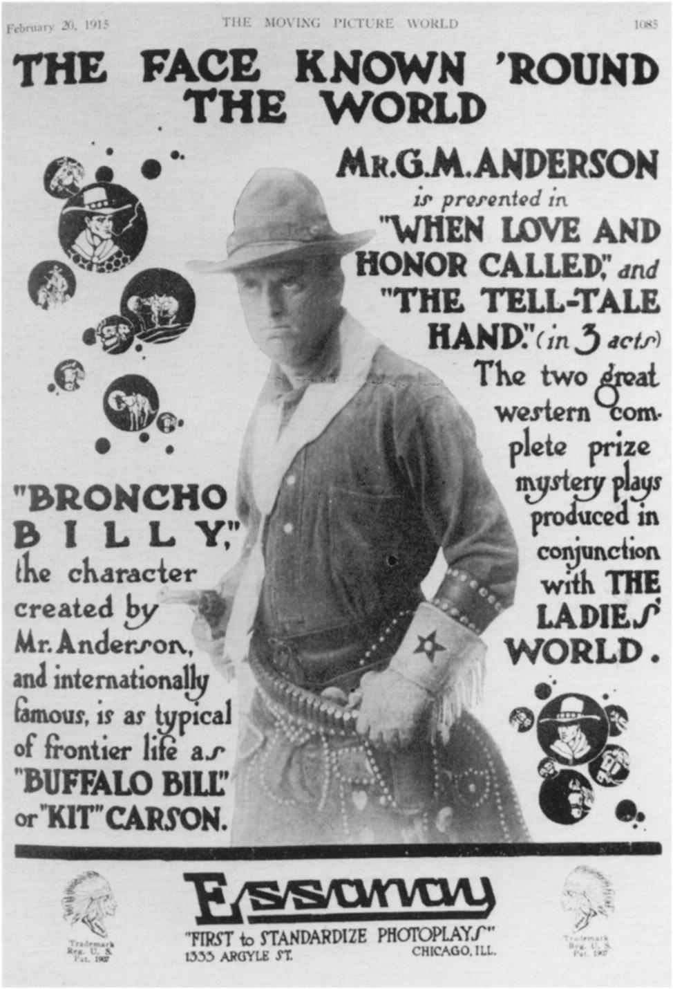 1915 advertisement for Anderson's Bronco Billy movies. Geoffrey Bell Collection