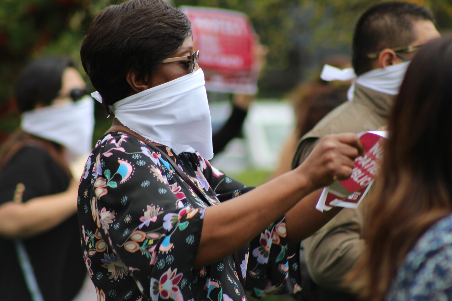 Close up of nurse protesting outside UCI Medical Center in Orange on Friday, April 3rd | Karen Foshay