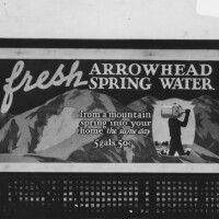 Circa 1930s Arrowhead Spring Water billboard