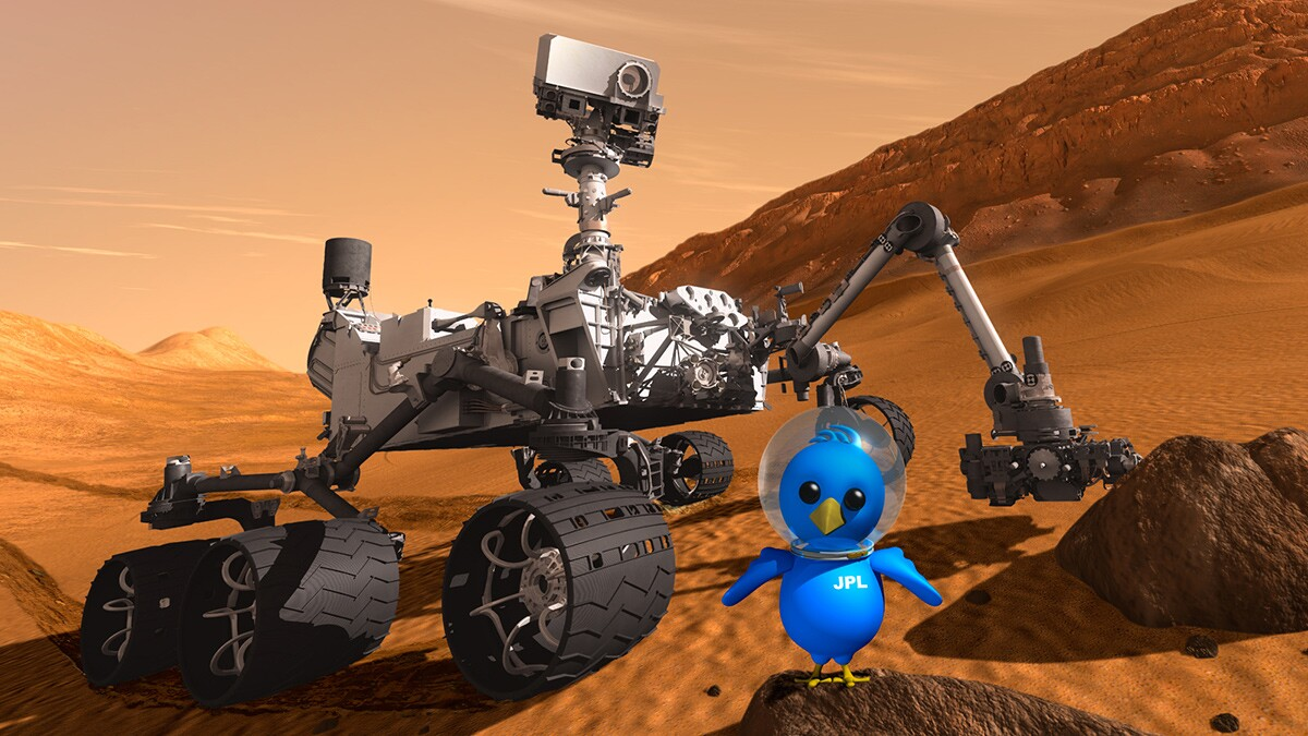 Artist concept featuring NASA's Mars Science Laboratory Curiosity rover along with an illustrated astronaut bird for a 2011 Tweetup. | NASA/JPL-Caltech