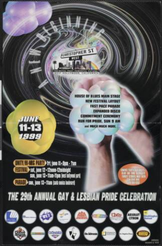 A new beginning, June 11-13 1999: the 29th annual gay and lesbian pride celebration poster, 1999. | McMan & Tate, Christopher Street West/Los Angeles, ONE National Gay and Lesbian Archives, USC Libraries