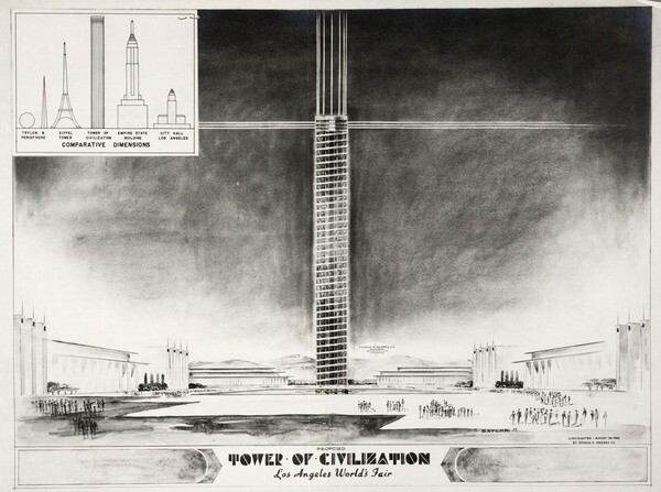 Standing nearly 1,300 feet tall and built partially out of magnesium, the Tower of Civilization would have soared over the grounds of the Los Angeles World's Fair. Courtesy of the Huntington Library.