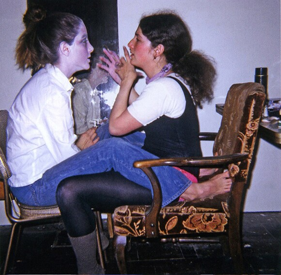 FAP student Nancy Youdelman (right) makes up colleague Shawnee Wollenman for a super8 film shoot, Fresno, 1971. | Photo: Dori Atlantis. Image permission: Nancy Youdelman