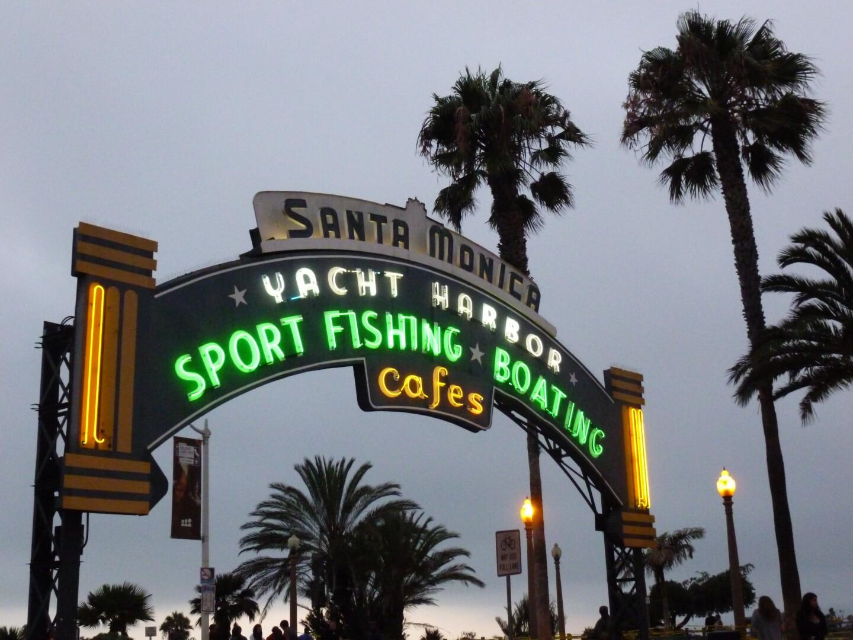 A neon sign for Santa Monica's Yacht Harbor.