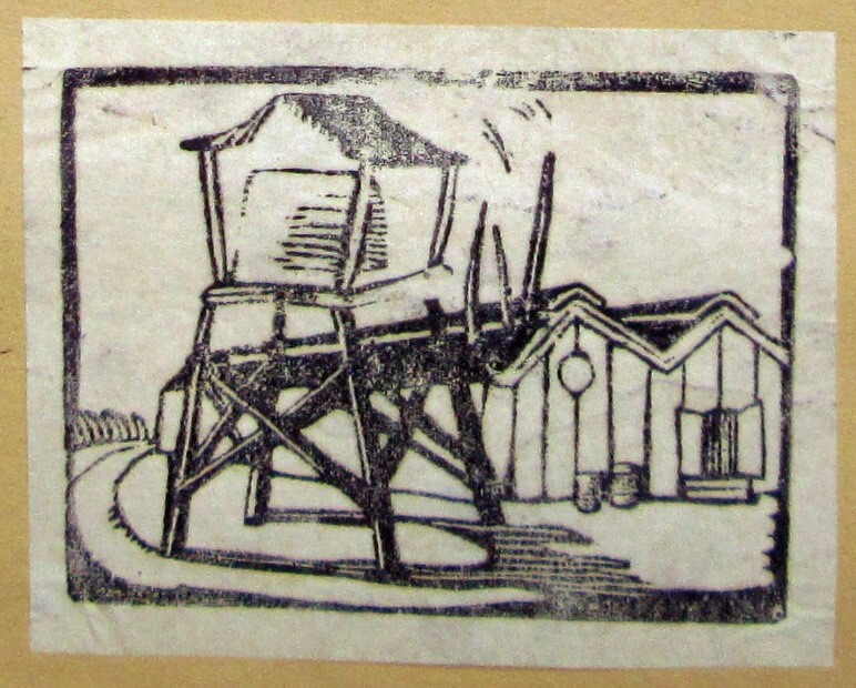 Block print of Poston Guard Tower | Courtesy of Bill Bell