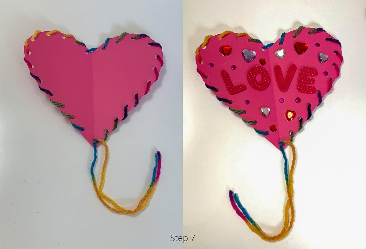 a pink paper craft in the shape of a heart
