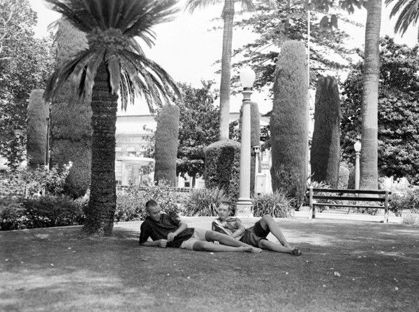 The circular park at the center of town has long been a popular place for relaxing. 1960 photograph courtesy of the USC Libraries - Los Angeles Examiner Collection.