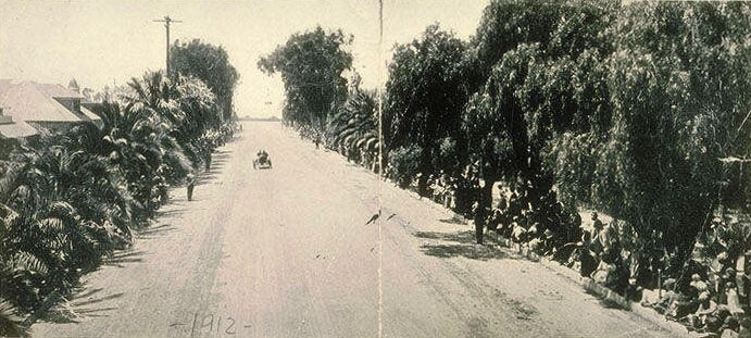 A 1912 view of Wilshire Boulevard, then named Nevada Avenue, in Santa Monica. Courtesy of the Santa Monica Public Library Image Archives.