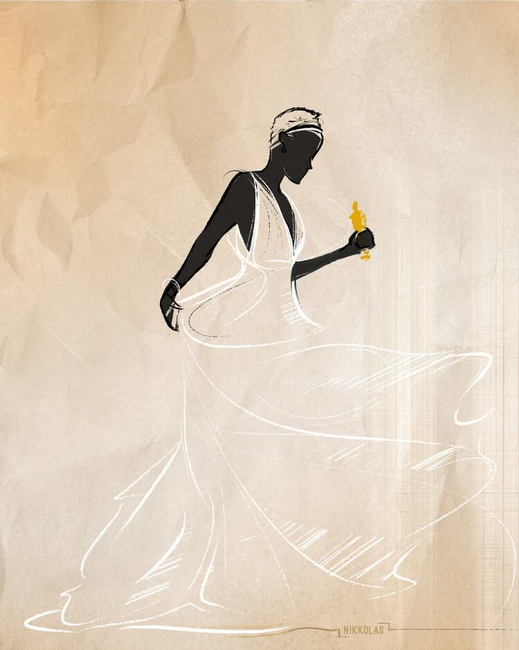 Academy Award winner Lupita Nyong'o is depicted as Cinderella in this illustration by Nikkolas Smith.